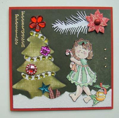 Stempel meisje kerst