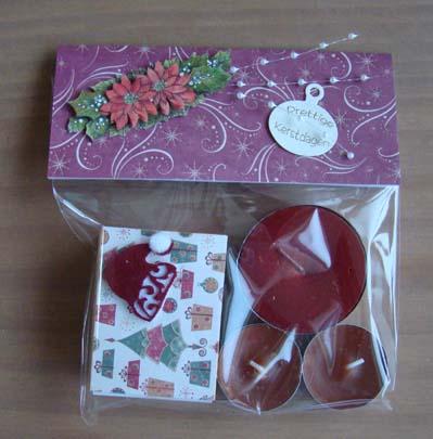 Kerstzakje waxinelichtjes en lucifers 2