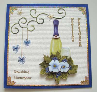Champagne blauwe kaart