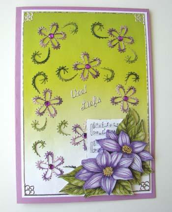 Achtergrond borduren, paars en groen