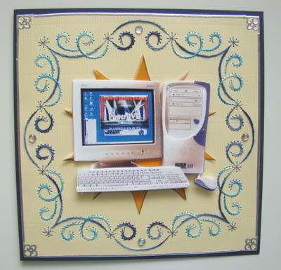 Computer borduur blauw