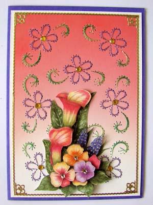 achtergrond borduren roze rode bloemen