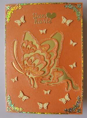 Glitter vlinder oranje en geel
