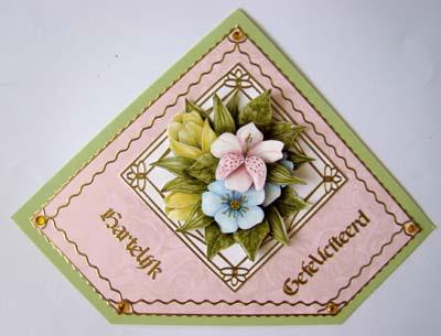 Bloemetje roze kaart