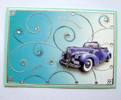 Auto met achtergrond borduren blauw