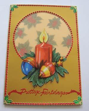 Gouden kaart met kerststukje