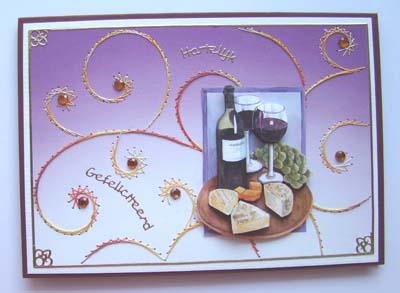 Wijn en kaas lila
