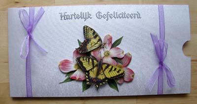 Geld envelop gele vlinders