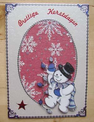 Witte kaart met sneeuwpop