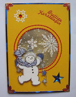 Gele kaart met sneeuwpop