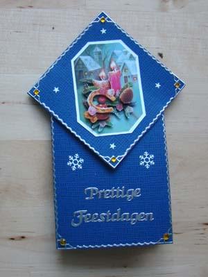 Vouwkaart blauw kerst