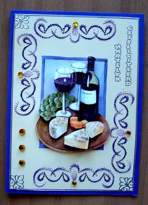 Wijn en kaas paars