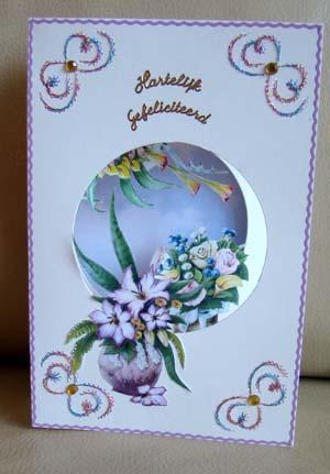 Doorkijk kaart bloemen en borduur