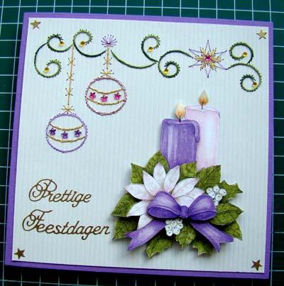 Kerstbal borduur paarse kaart