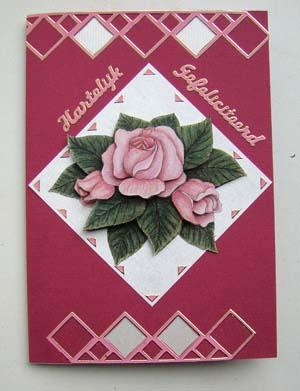 Roze roos met randsticker