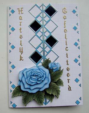 Blauwe roos met randsticker