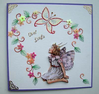 Vlinder borduur met fairie