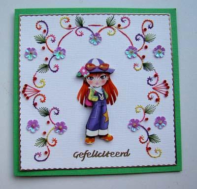 Meisje borduur met bloemetjes