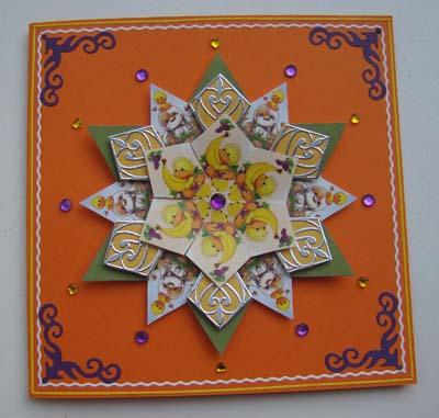Rozet oranje kaart met paars