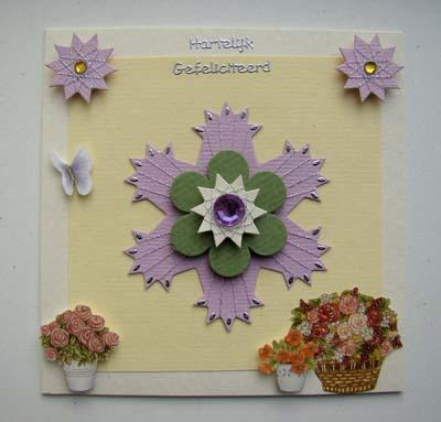 Witte kaart met lila ster spirelli