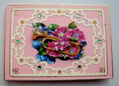 Roze muziekkaart met opleg