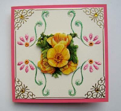 Gele bloem met borduur