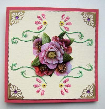 Roze bloem met borduur