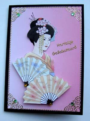 Oosterse dame roze kaart