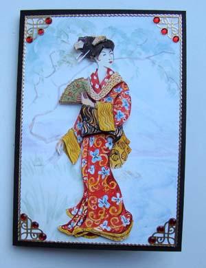 Oosterse dame met rode jurk