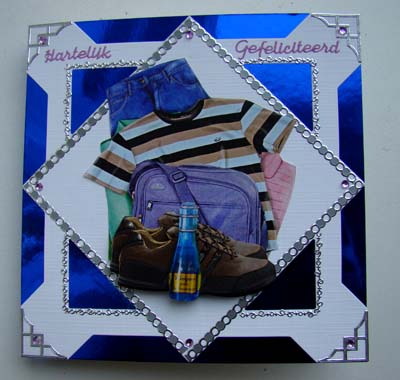 Blauw spiegelkarton mannenkaart