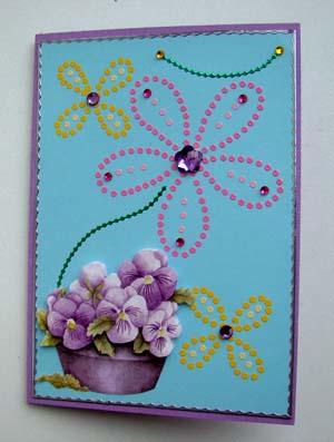 Stipjes bloemenmand lila