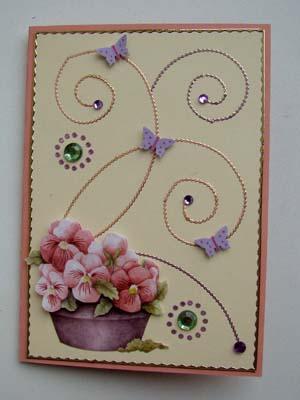 Stickerlijntjes bloemenmand roze