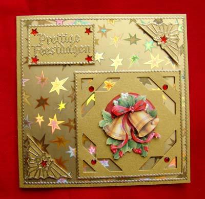Gouden kerstkaart met klokjes 2